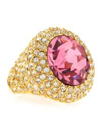 Kenneth Jay Lane - Faceted Pink Crystal Pave Adjustable Ring - Lyst