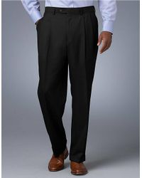 Lauren by Ralph Lauren | Black Midweight Pleated Wool Trouser Pants for Men | Lyst
