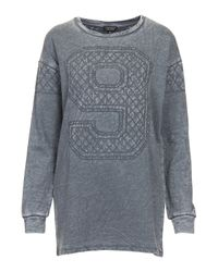 TOPSHOP - Gray Quilted Number 9 Sweat - Lyst