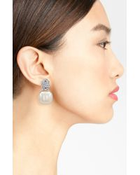 Majorica | White Graphic Contrast 18mm Pearl Cubic Zirconia Earrings | Lyst
