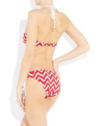MILLY - Red Boca Zigzag-print Bikini Briefs - Lyst