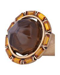 Oscar de la Renta - Orange 24Karat Gold-Plated Crystal and Resin Ring - Lyst