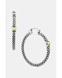 Lagos   Metallic Caviar Beaded Silver Hoop Earrings   Lyst