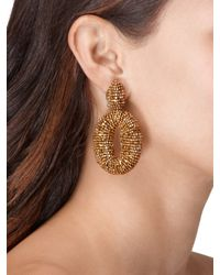 Oscar de la Renta - Metallic Classic Oscar Beaded O Clip-on Earrings - Lyst
