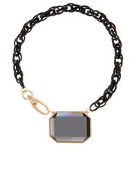 ASOS | Black Rectangle Glass Stone Necklace | Lyst