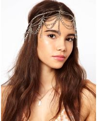 ASOS | Gray Hanging Crystal and Chain Hairband | Lyst