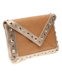 Elaine Turner - Brown Bella Studded Envelope Clutch - Lyst