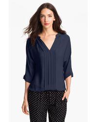 Joie | Blue 'marru' Semi-sheer Silk Blouse | Lyst