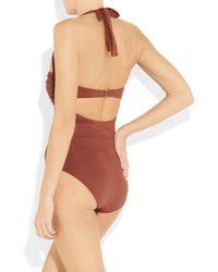 Melissa Odabash - Brown Berlin Underwired Halterneck Swimsuit - Lyst