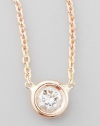 Roberto Coin | Pink Rose Gold Diamond Pendant Necklace | Lyst