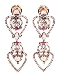 Sabine G | Pink 18k Rose Gold Diamond & Ruby Heart Earrings | Lyst