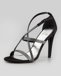 Stuart Weitzman - Black Surreal Crisscross Crystal Evening Sandal - Lyst