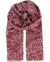 Mulberry | Purple Scribbly Leopard Bambooblend Scarf | Lyst