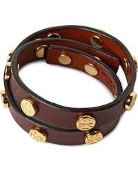 Tory Burch - Brown Leather Wrap Bracelet - Lyst