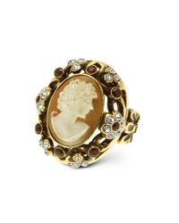 Alcozer & J - Metallic Cameo and Crystal Ring - Lyst