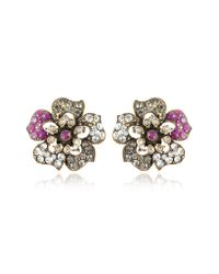 Alcozer & J | Metallic Flower Crystal Clipon Earrings | Lyst
