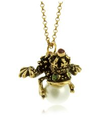 Alcozer & J | Metallic Glass Pearl Brass and Emerald Frog Pendant Necklace | Lyst