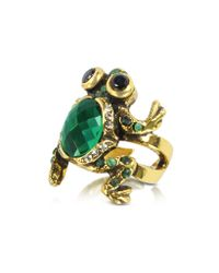 Alcozer & J | Green Brass and Emerald Frog Ring | Lyst