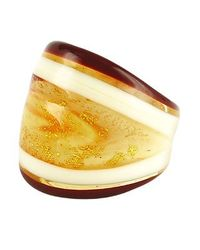 Antica Murrina - Metallic Cuba Amber and White Murano Glass Fashion Ring - Lyst