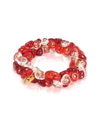 Antica Murrina - Red Rubik Murano Glass Drops Stretch Bracelet - Lyst