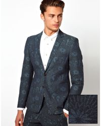 ASOS | Blue Slim Fit Blazer in Tropical Print for Men | Lyst