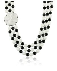 AZ Collection | Black & White Camelia Clasp Glass Pearl Necklace | Lyst
