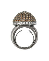Azhar | Metallic Sterling Silver Cubic Zirconia Semi-sphere Cocktail Ring | Lyst