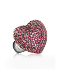 Azhar - Pink Sterling Silver And Cubic Zirconia Big Heart Ring - Lyst