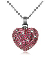 Azhar - Metallic Sterling Silver And Cubic Zirconia Heart Pendant Necklace - Lyst