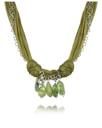 Daco Milano - Green Gemstone Drops Multi-strand Sterling Silver Lace Necklace - Lyst