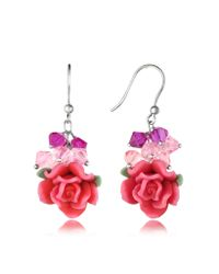 Dolci Gioie - Pink Rose Earrings - Lyst