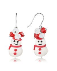 Dolci Gioie | Brown Snowman Pendant Earrings With Crystals | Lyst
