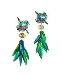 Erickson Beamon - Green Aquarela Do Brasil Crystals Clip On Earrings - Lyst