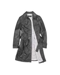 FORZIERI | Soft Black Leather Belted Trench Coat | Lyst