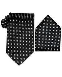 FORZIERI - Blue Polkadots Silk Tie & Pocket Square for Men - Lyst