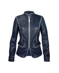 FORZIERI | Navy Blue Calf Leather Zip Jacket | Lyst