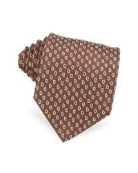 FORZIERI | Brown Mini Paisley Design Woven Silk Tie for Men | Lyst
