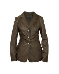 FORZIERI - Women's Dark Brown Leather Three-button Jacket - Lyst