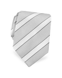FORZIERI | Metallic Gold Line- Silver And Ivory Bands Woven Silk Tie for Men | Lyst