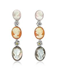 Mia & Beverly | Metallic Cameo Drop Earrings | Lyst
