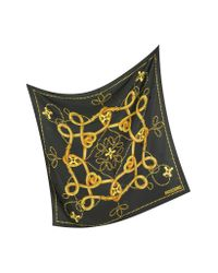 Moschino | Metallic Archivio - Black and Gold Silk Square Scarf | Lyst