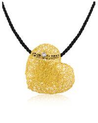 Orlando Orlandini | Yellow Arianna - Diamond Heart Pendant W/velvet Lace | Lyst