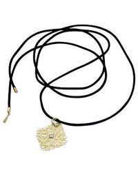 Orlando Orlandini - Metallic Central Diamond 18k Yellow Gold Pendant W/lace - Lyst