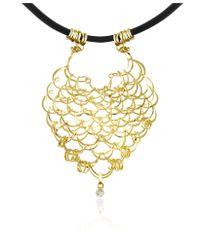 Orlando Orlandini | Scintille - Diamond Drop 18k Yellow Gold Net Necklace | Lyst