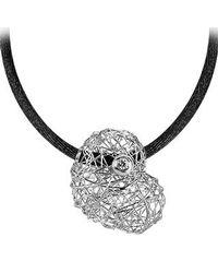 Orlando Orlandini - Arianna - 18k White Gold Heart Pendant W/diamond - Lyst