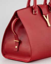 Saint Laurent - New Cabas Chyc Medium Textured Tote Bag Red - Lyst
