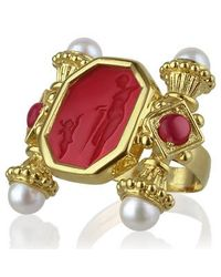 Tagliamonte - Metallic Classics Collection - Pearls & Rubies 18k Gold Ring - Lyst
