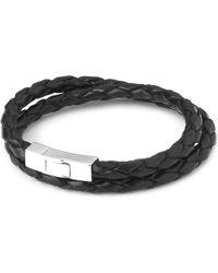 Tateossian | Double-wrap Scoubidou Leather Bracelet With Silver Clasp, Men's, Size: L, Black | Lyst