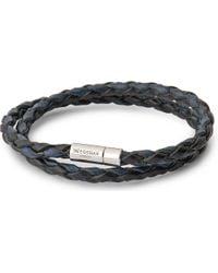 Tateossian | Blue Silver Pop Scoubidou Leather Bracelet - For Men | Lyst