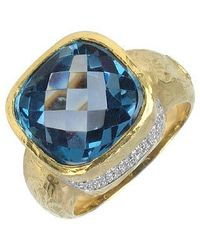 Torrini | Stefy - Topaz And Diamonds Yellow Gold Ring | Lyst
